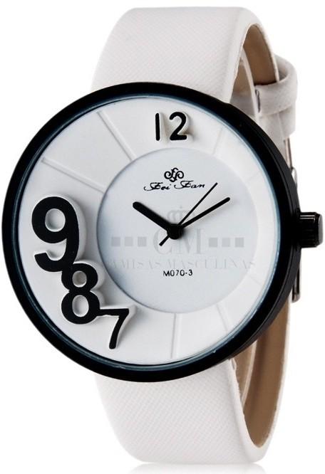 a8ff12d9ef4 Relógio Feminino Casual Fei Fan M070-3 Desenho Moderno Analogico - Branco