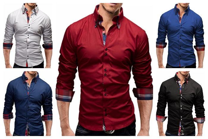Camisa de Vestir Fashion en Color S—lido - Detalle Elegante a Cuadros - en 5 Colores