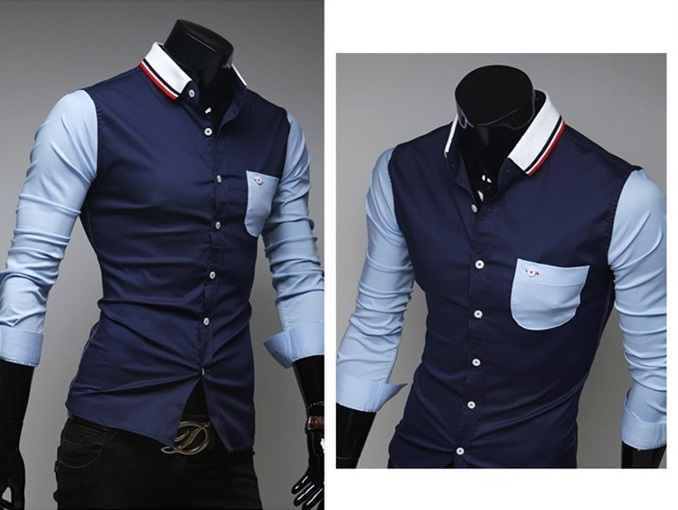 Camisa Casual Jovem em Duas Cores com Detalhes - Azul