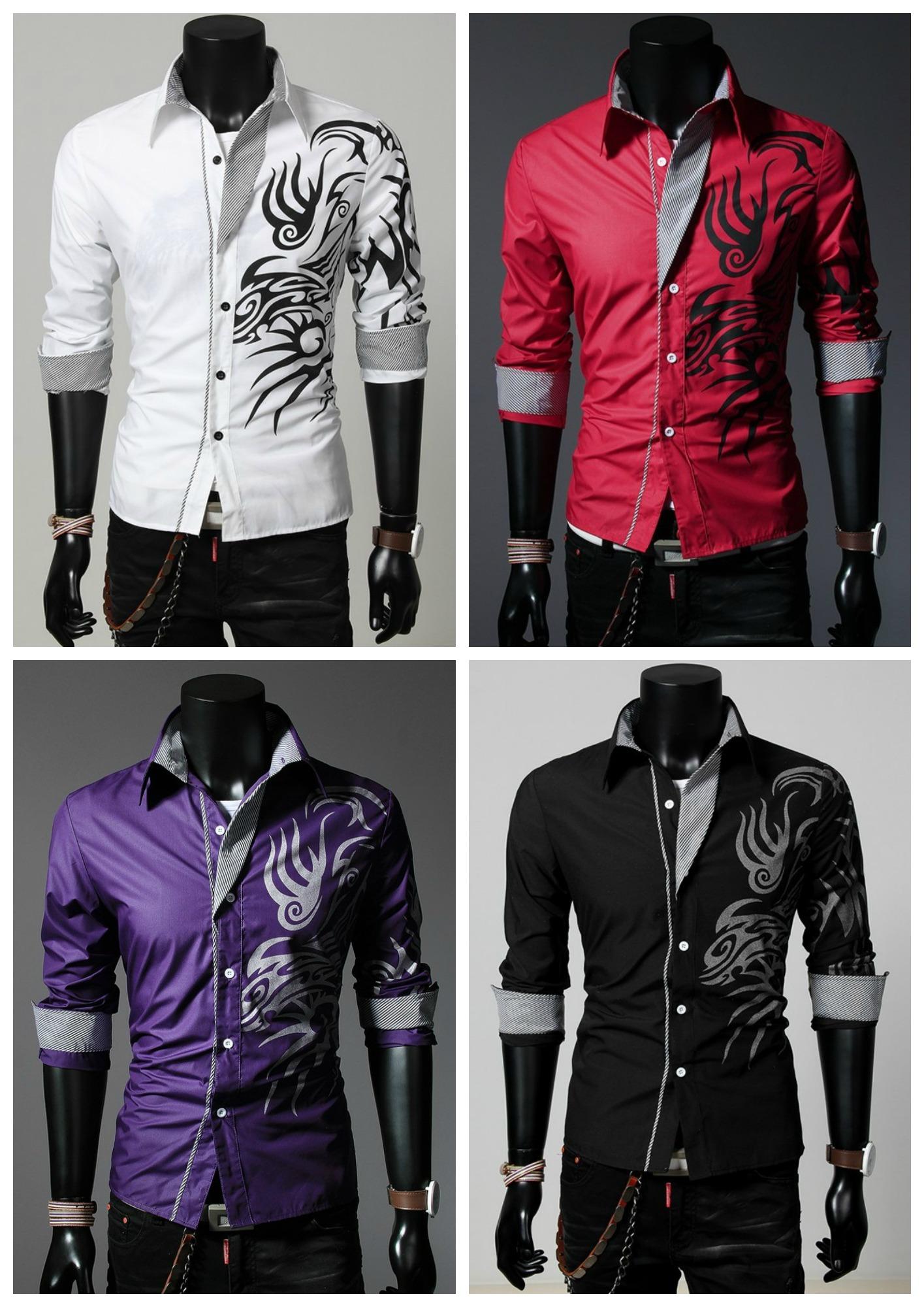 61b059a8cd1f0 Camisa Casual Moderna com Desenhos Tribais - Vermelha
