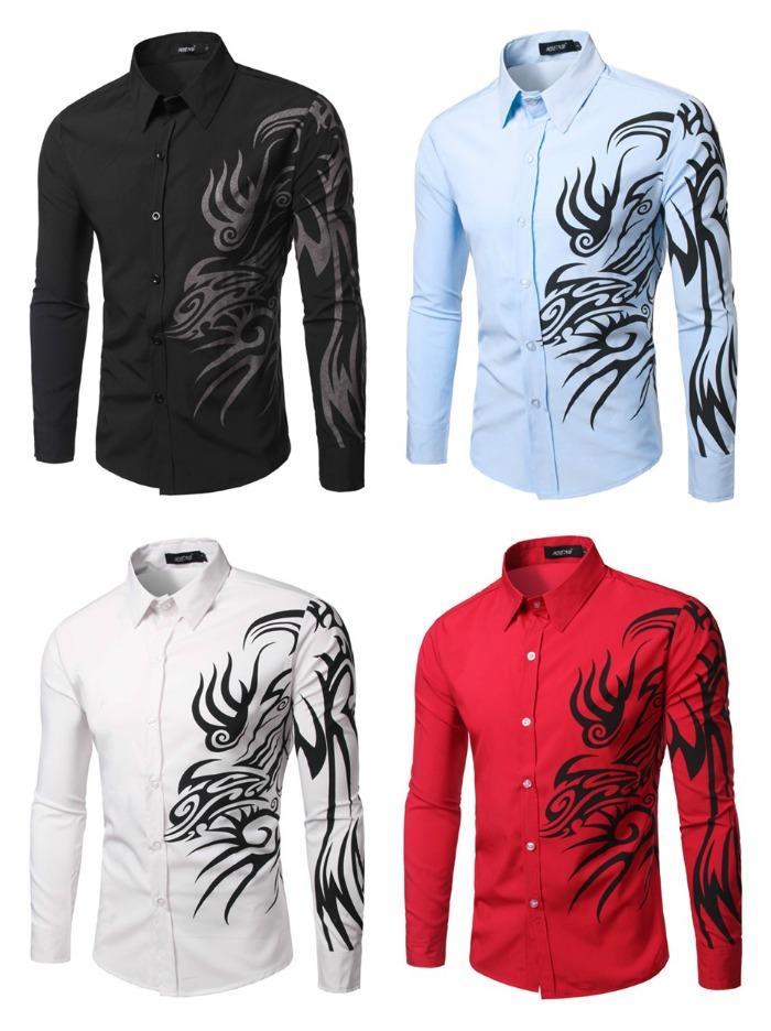 Camisa Casual com Desenhos Tribais - em 4 Cores