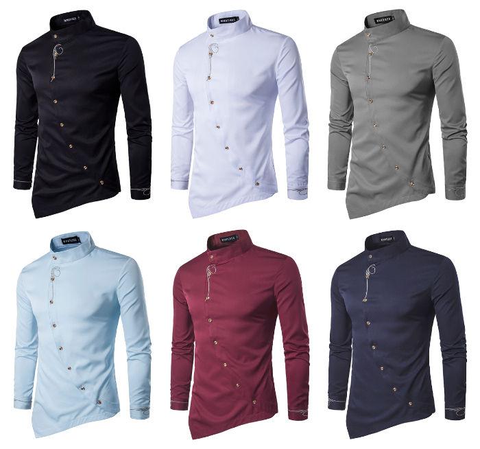 Camisa de Vestir Dise–o Sofisticado Irregular con Detalles Plateados - Cuello Mandar'n - en 6 Colores