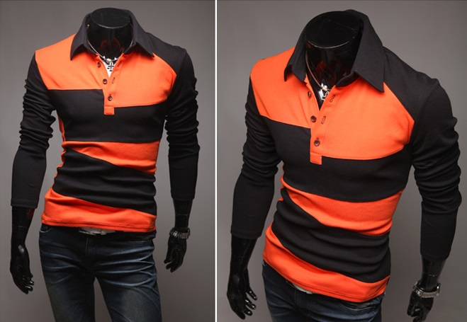 Camisa Polo Casual Fashion en Dos Colores - Naranja (MH617)