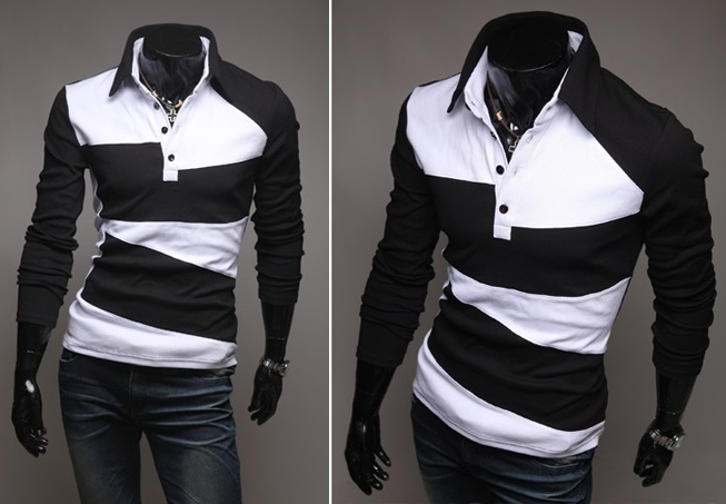 Camisa Polo Casual Fashion en Dos Colores - Negra (MH617)