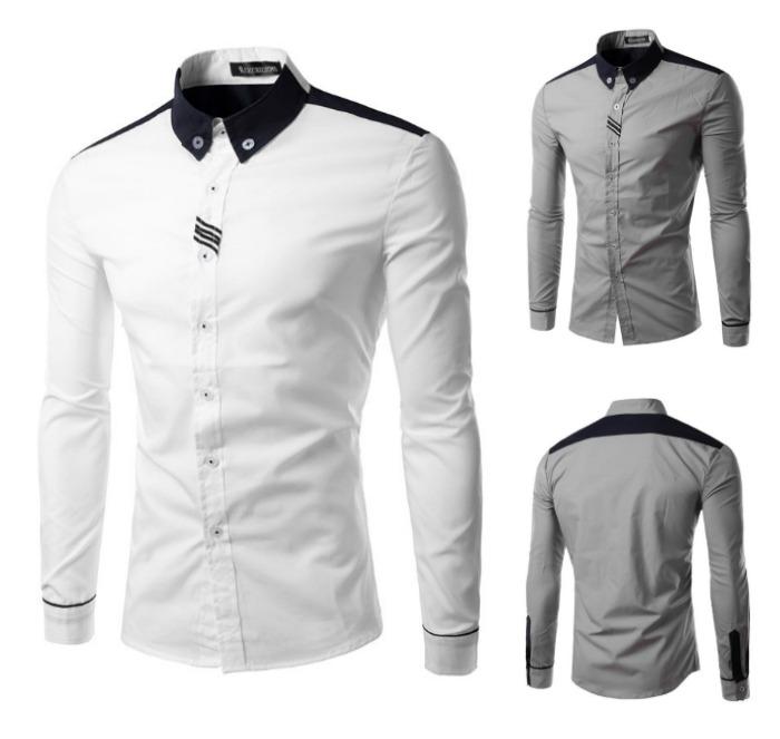 Camisa Casual Elegante - Manga Comprida - em Branco e Cinza