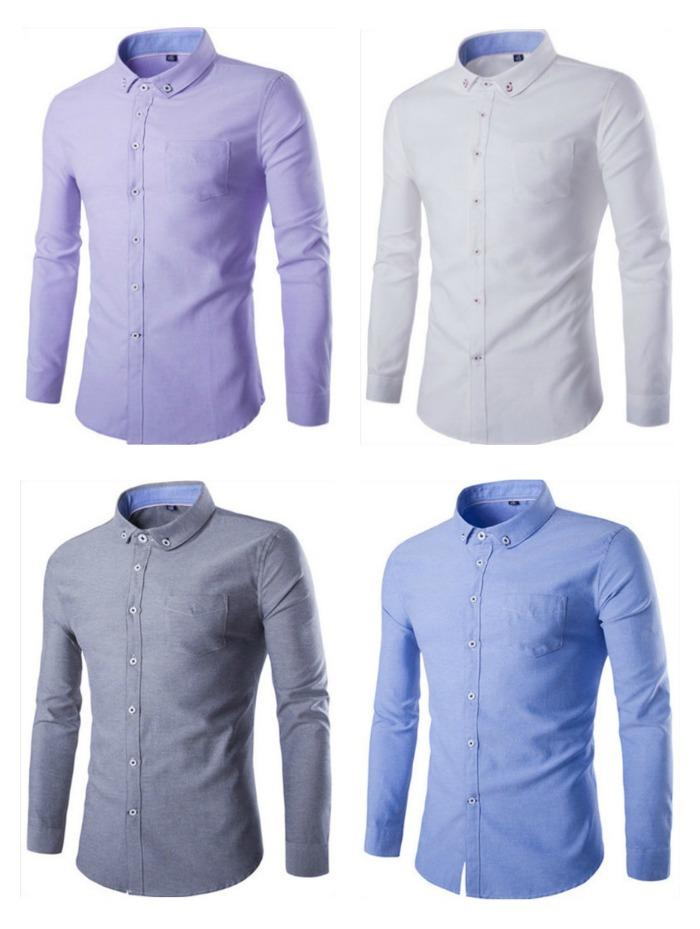 Camisa Casual Elegante Lisa - Tons Claros - em 4 Cores