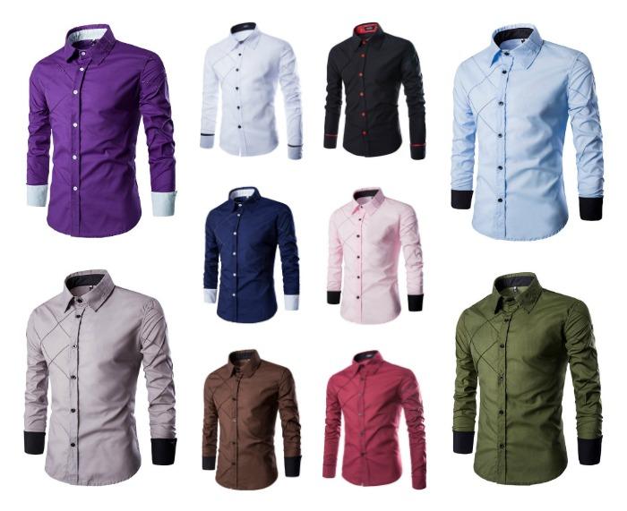 Camisa Casual Fashion - Desenho Elegante e Moderno - em 10 Cores