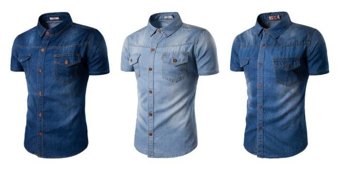 7be1e22415 Camisa en Jean Manga Corta Clásica - Cowboy Style - en Azul Claro ...