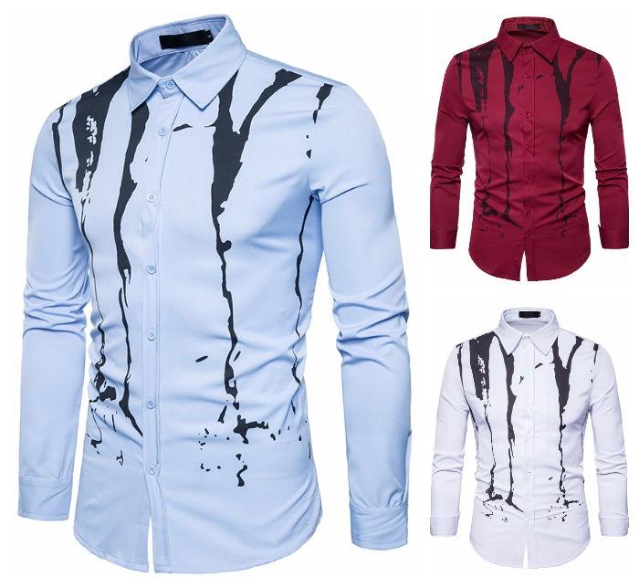 Camisa Casual Fashion - Desenho Vintage Ink - em Vinho, Branco e Azul Claro