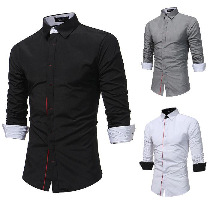 Camisa Sofisticada Top em Algodão - Abotoadura Fashion - em Branco, Preto e Cinza