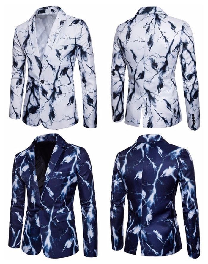 Blazer New Vintage - Lightning and Feathers - em Azul Escuro e Branco