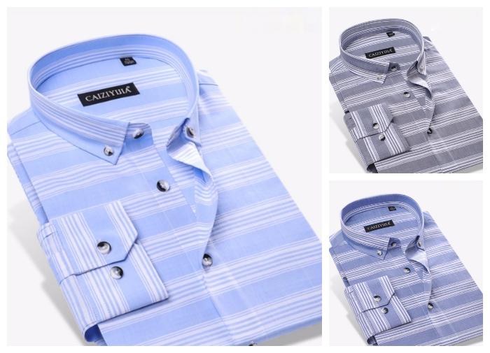 Camisa Casual Listras Horizontais 100% Algodão - Botões Modernos - em Cinza, Azul Claro e Azul