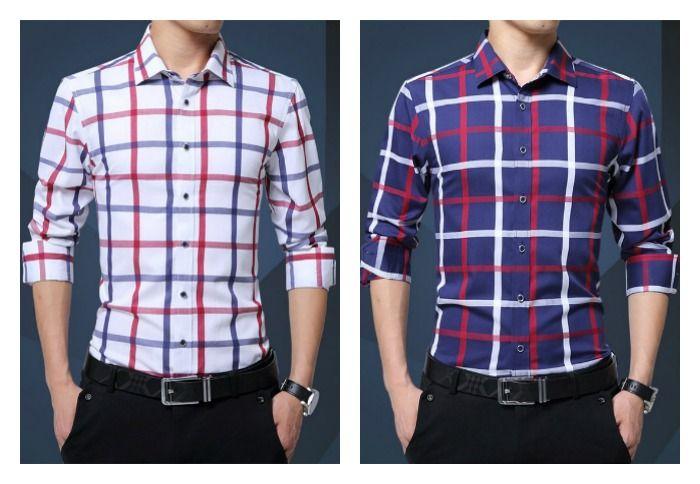 3304e82cc7 Camisa Elegante e Sofisticada de Estilo Jovem Xadrez - em Branco e Azul