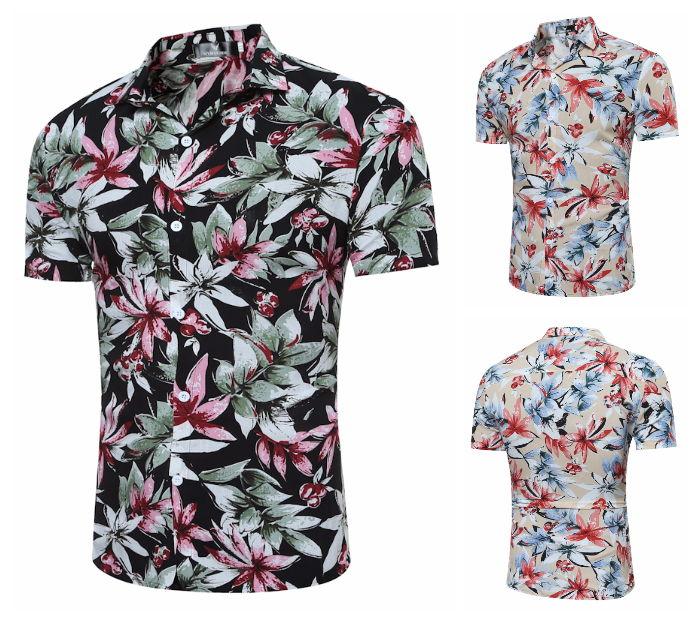 Camisa Manga Curta Hawaiana Floral - Praia Tropical - em Caqui e Preto