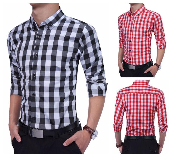 Camisa Casual Jovem Xadrez - Desenho Primaveral - em Vermelho e Preto