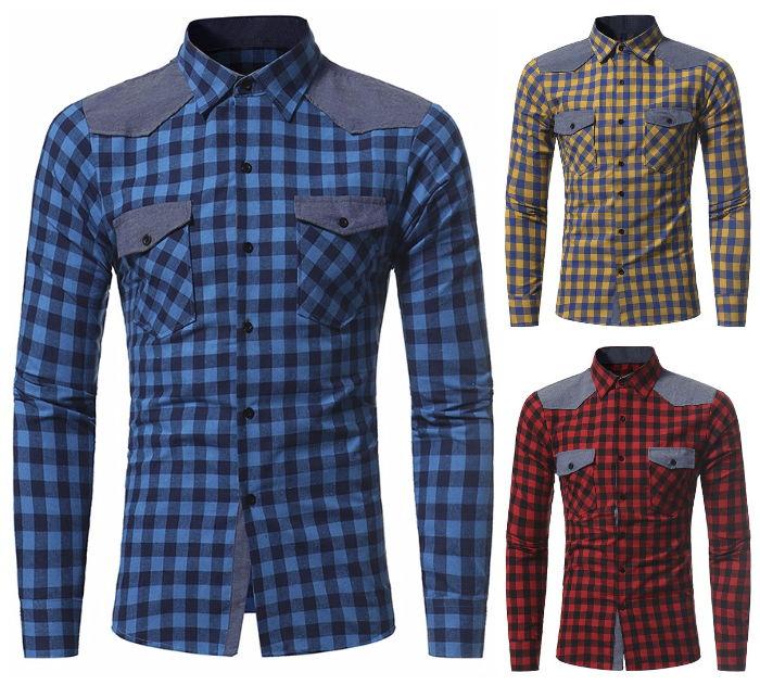 Camisa Casual Fashion Temporada Primavera Xadrez - em Vermelho, Azul e Amarelo