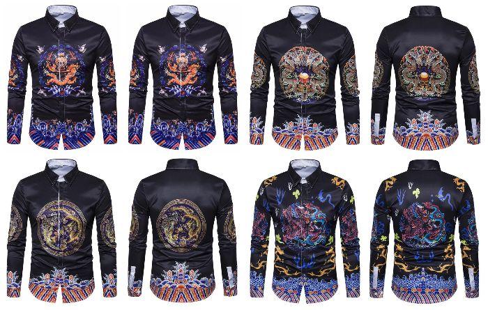 Camisa Sofisticada Preta de Desenho Chinês - em 4 Cores
