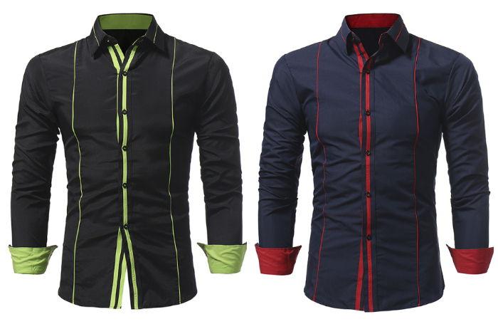 Camisa Moderna de Cor Sólido com Detalhes em Cores Vibrantes - em Azul Escuro e Preto