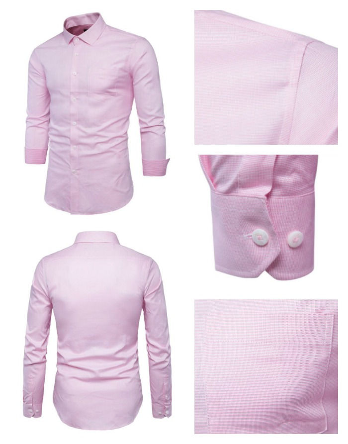 Camisa Elegante Fashion - Checkered Texture - Rosa