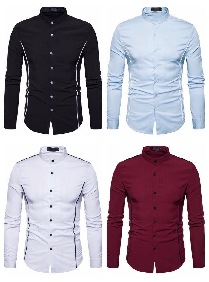 Camisa Social/Casual Slim Fit com Detalhes - Gola Mandarim - em 4 Cores
