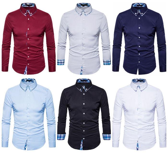 Camisa Elegante de Estilo Clássico com Detalhes Xadrez - em 6 Cores