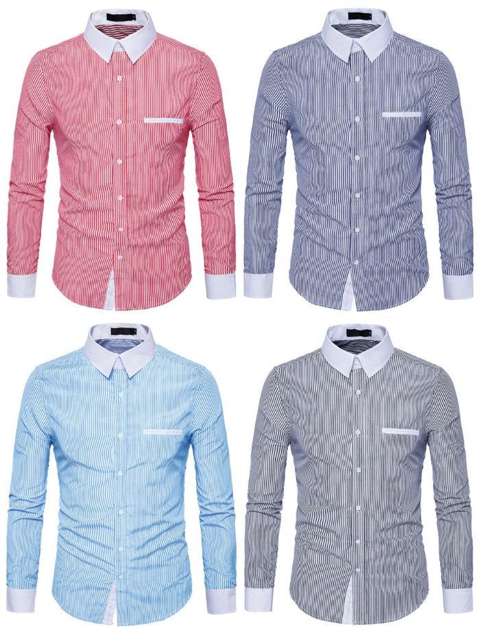 Camisa Fashion Listrada de Estilo Europeu - em 4 Cores
