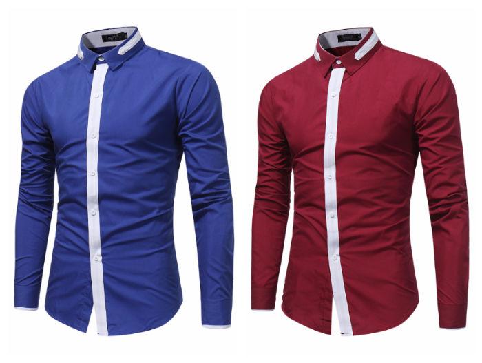 Camisa Fashion de Cor Jovem e S—lido - Detalhe em Contraste - em Vinho e Azul