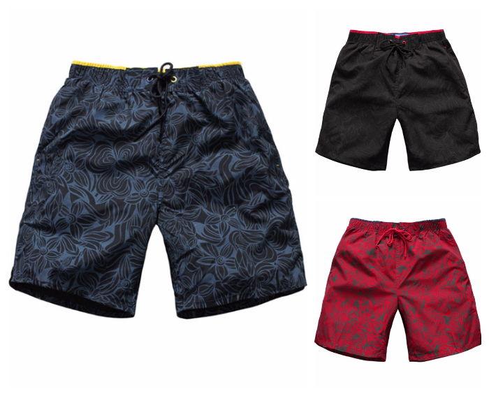 Bermuda Curta Fashion de Praia - Desenho Nature - em Vermelho, Preto e Azul Escuro