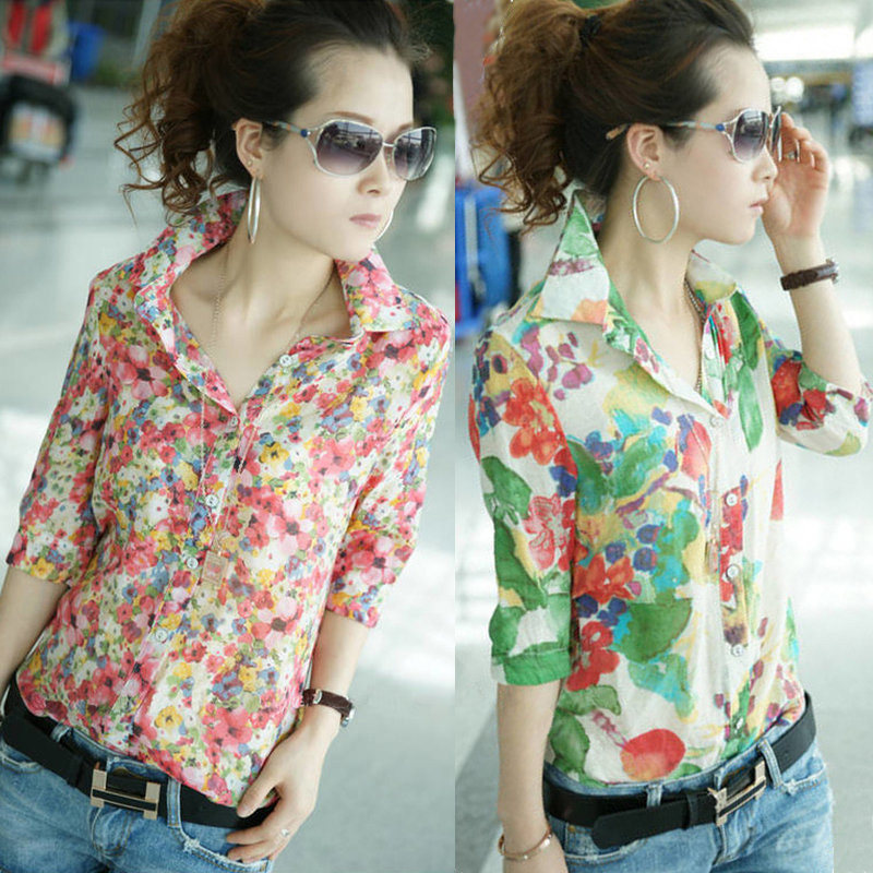Blusa Floral Colorida - em Chiffon