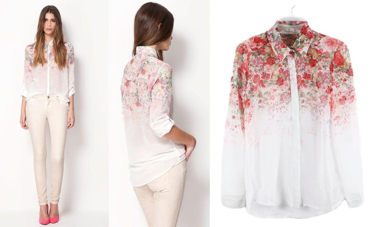 Blusa Casual Elegante com Detalhes Florais