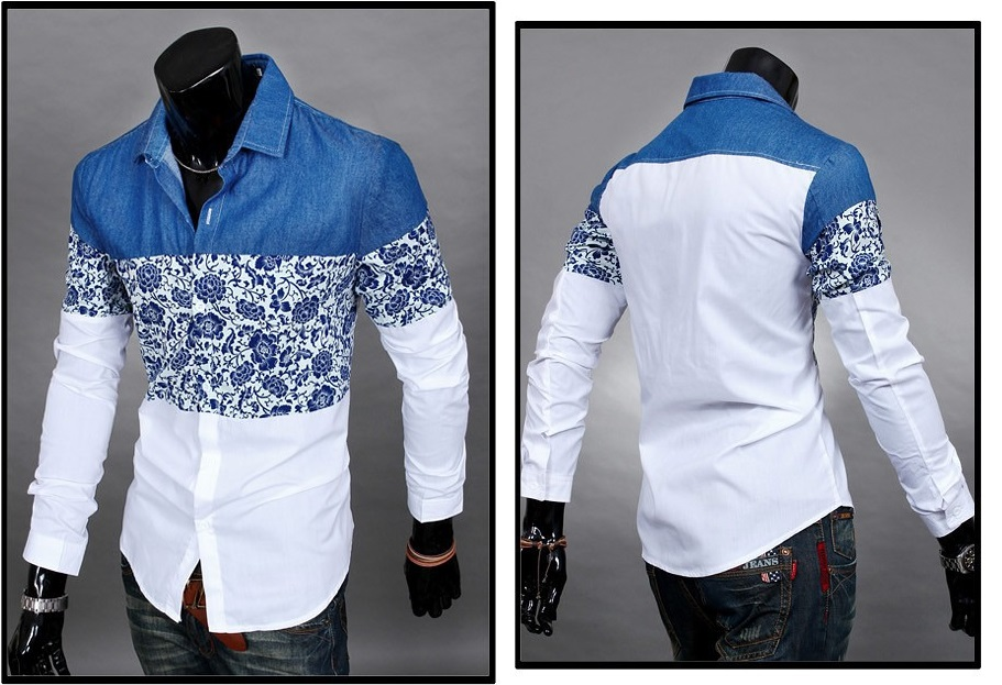 Camisa Casual Fashion Floral - Azul