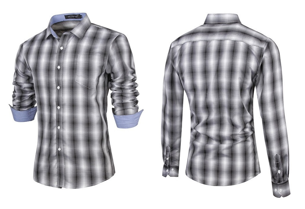 Camisa Fashion Casual Moderna de Cuadros en Degrade - Negra