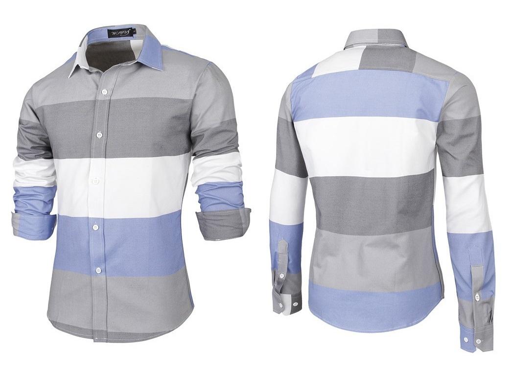 Camisa Casual Fashion Jovem - em Três Cores - Cinza / Branca / Azul