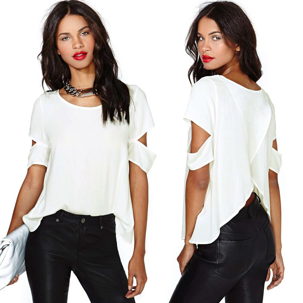 Blusa Casual Solta com Mangas Vazadas - Branca