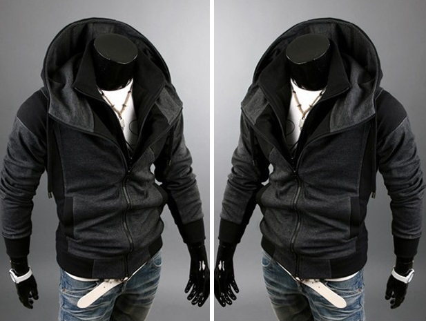 Jaqueta Casual com Desenho Moderno - em Duas Cores - Preta