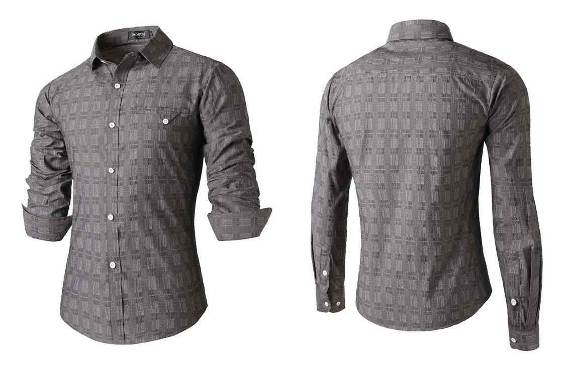 Camisa Casual Elegante - com Desenho Moderno - Cinza
