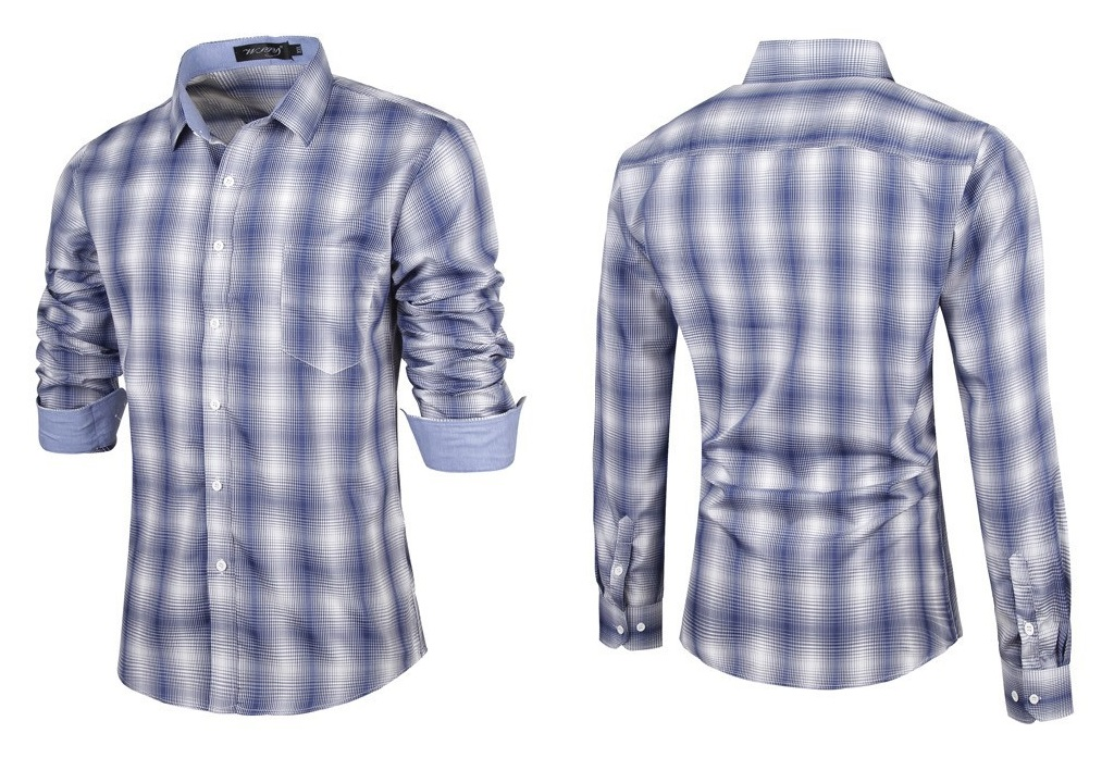 Camisa Fashion Casual Moderna de Cuadros en Degrade - Azul