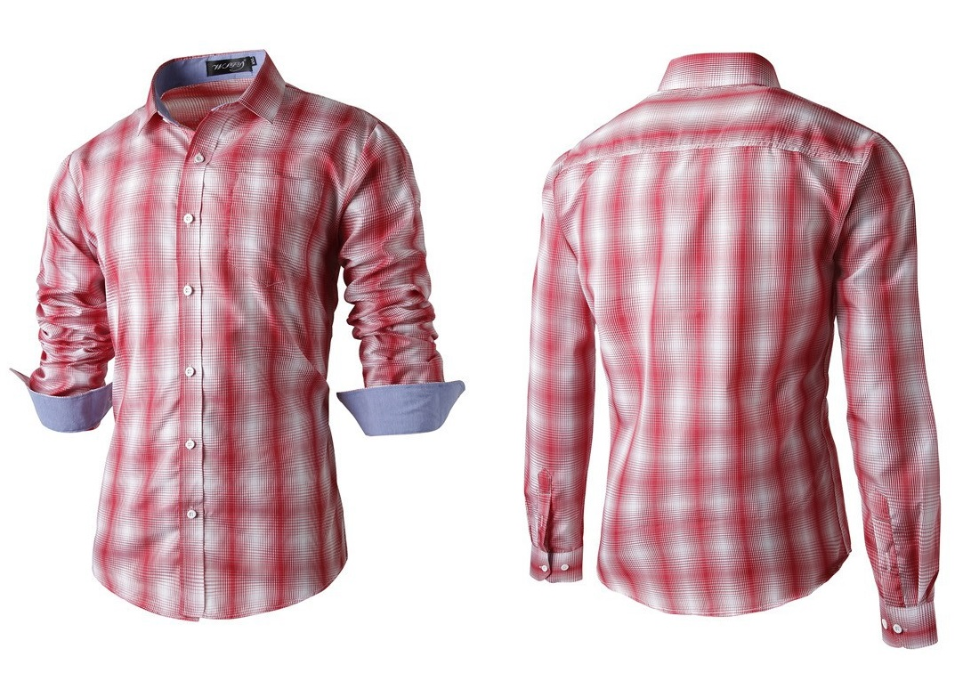 Camisa Fashion Casual Moderna de Cuadros en Degrade - Roja