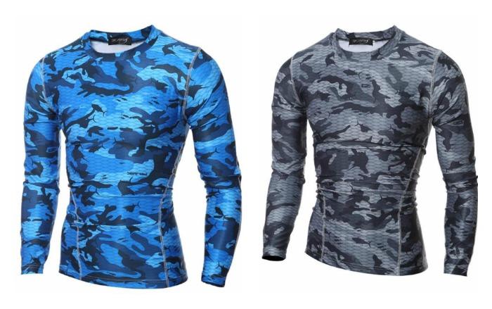 Camiseta Moderna Dryfit Camuflada Manga Comprida - em Azul e Cinza d724ea27e53