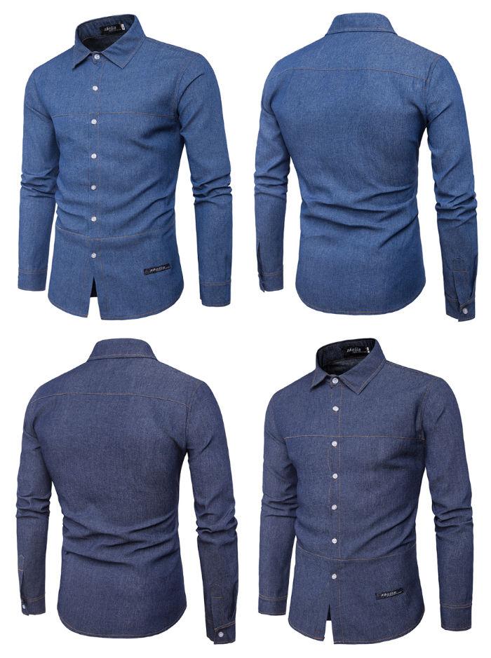 Camisa Jovem Slim Fit - Demin - em Azul Escuro e Azul Claro