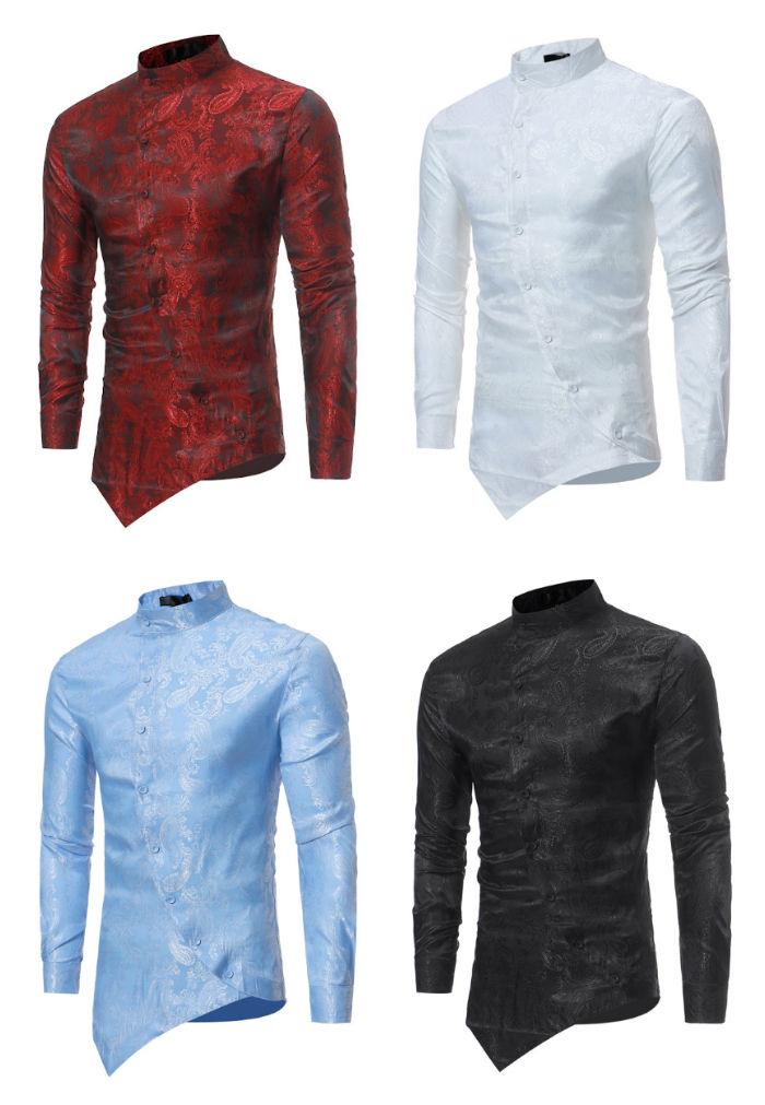 Camisa New Fashion Gola Mandarim - Desenho Exclusivo - em 4 Cores