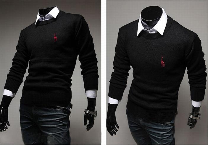 Sweater Clasico Fashion Slim Fit - Detalle en el Pecho - Negro