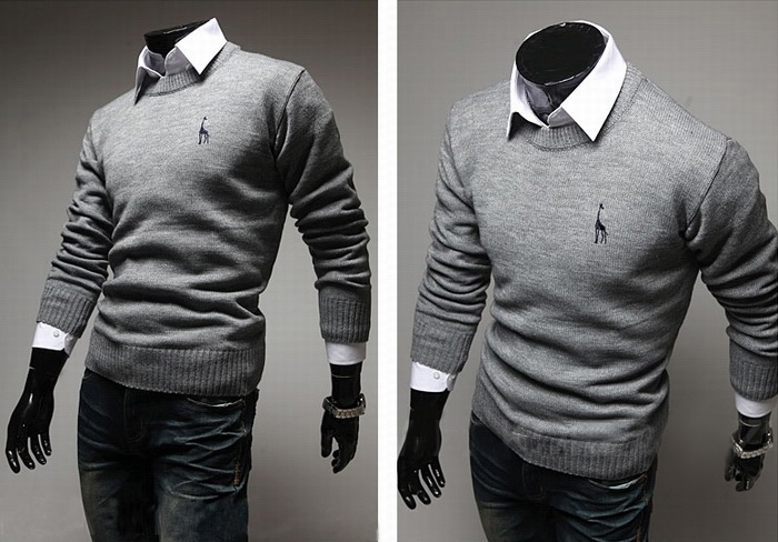 Sweater Classico Fashion Slim Fit - Detalhe no Peito - Cinza