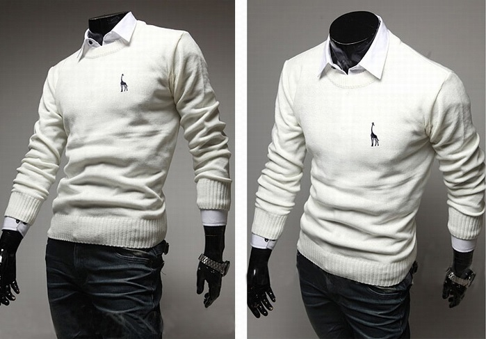 Sweater Classico Fashion Slim Fit - Detalhe no Peito - Branco