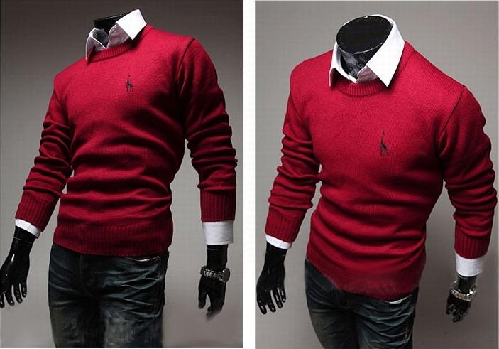 Sweater Classico Fashion Slim Fit - Detalhe no Peito - Vermelho