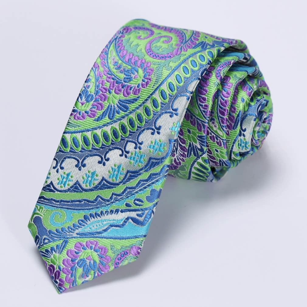 "Corbata Slim 2.17"" Fashion Floral - Verde / Purpura"