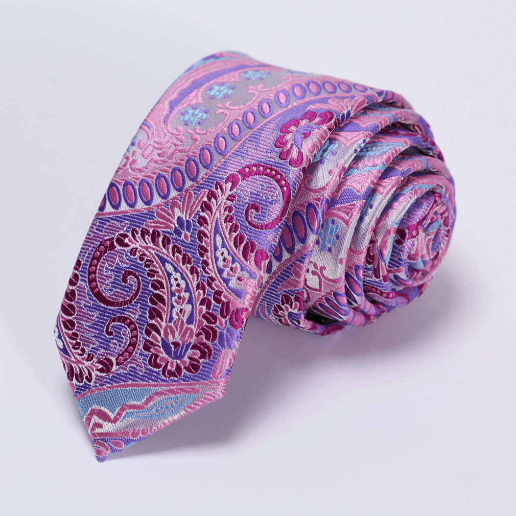 "Corbata Slim 2.17"" Fashion Floral - Purpura / Azul"
