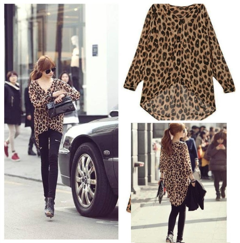 Blusa Casual Larga en Chiffon - Animal Print
