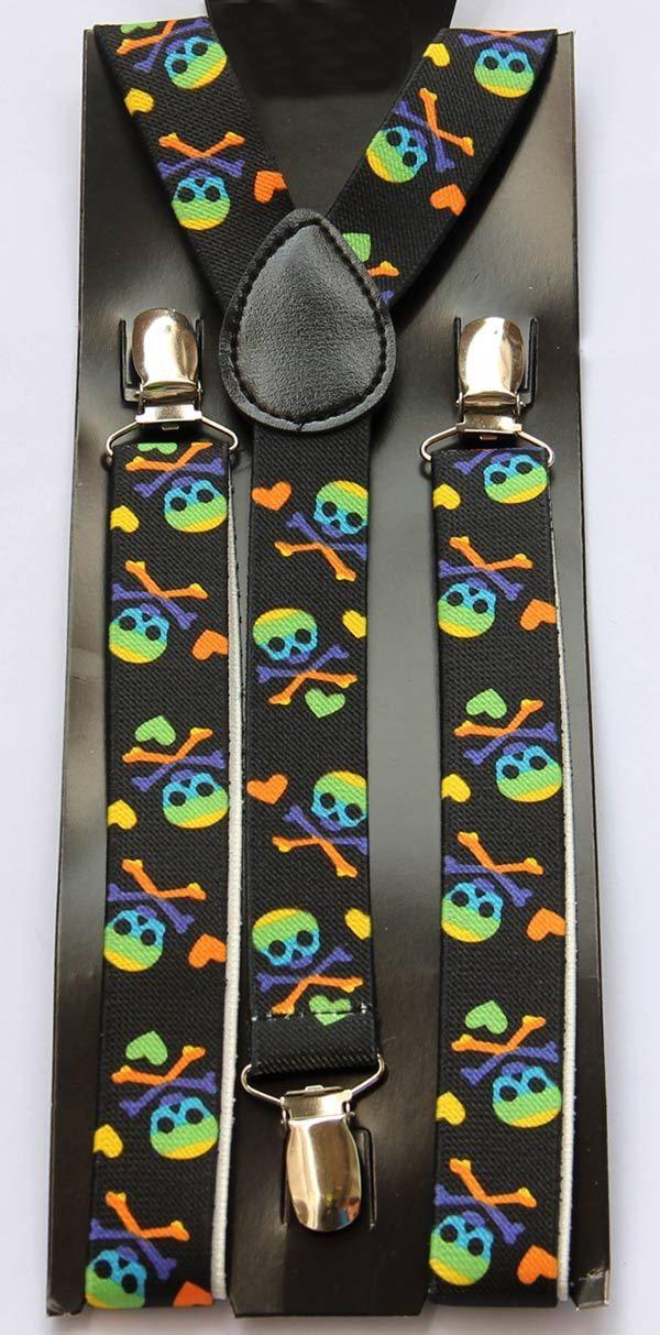 7de3a7fe0 Tirantes Modernos Unisex Elasticos Ajustable - Diseño de Calaveras  Multicolor - Negro