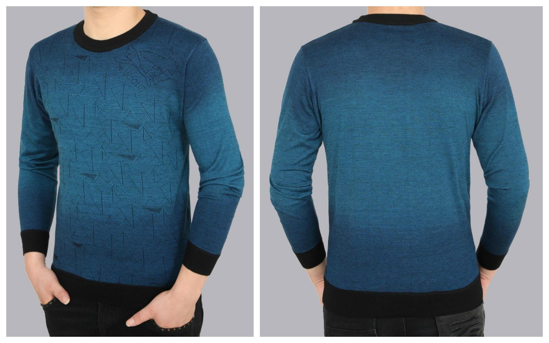 Sweater Fashion com Desenhos Geométricos em Degradê - Azul